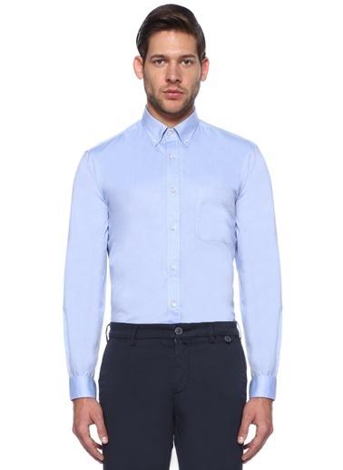 Gieves & Hawkes Uzun Kollu Klasik Gömlek Mavi